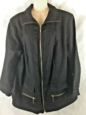Patrick Christopher Size 2X Women's Linen Full Zip Black Jacket Pockets