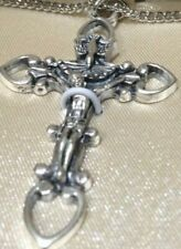 "CREED 1.75"" DOVE CRUCIFIX Stainless Silver 20"" Chain, Boxed NEW-SO308 STUNNING"
