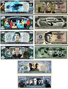 Star Trek Set of 5: Million Dollar Bill Funny Money Novelty Notes +FREE SLEEVES