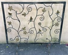Vintage Hand Forged Iron Free Standing Fireplace Screen Butterflies & Flowers