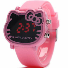 Women Lady Girl Pink Hello Kitty Face Wrist band LED Watch Christmas Gift her