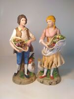 "Homco Set # 1401 Young Couple Figurines 9.75"" Tall Collecting Fruits in Baskets"