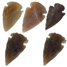 Medieval Flint Agate Arrowhead 5 Piece Set 1 Inch- Mohs Hardness of 7