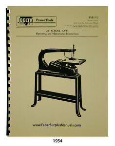 """Delta 24"""" Scroll Saw Older Style Operating, Maintenance & Parts Manual #1954"""
