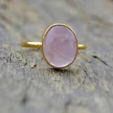 Natural Pink Rose Quartz Gemstone 14K Yellow Gold Wedding Gift Ring Size 7