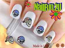 "Nail Art #591 ""Skull with Flag Biker"" WaterSlide Nail Decals Transfers Sticker"