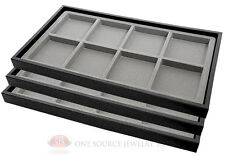 (3) Black Plastic Stackable Trays w/8 Compartments Gray Jewelry Display Inserts