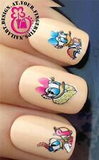 NAIL ART WATER TRANSFERS DECALS STICKERS DECO SET DAISY DUCK GLITTER DUST #512
