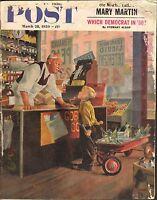 MARCH 28 1959 SATURDAY EVENING POST magazine CORNER STORE - WAGON