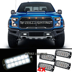 4X 12 LED White Emergency Hazard Warning Flash Strobe Beacon Caution Light Bar07