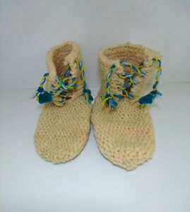 HAND KNITTED WOOL SLIPPER BOOTS THICK COMFY / Morroccan handmade