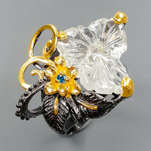 Handmade Jewelry Art Aquamarine Ring Silver 925 Sterling  Size 7.75 /R173691
