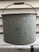 Old Rare Oval Galvanized Metal Minnow Bait Bucket w/Insert and Wood Handle