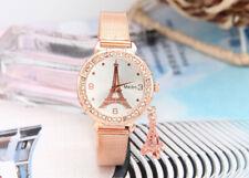 Women Ladies Eiffel Tower Watch Stainless Steel Band Analog Quartz Wristwatches
