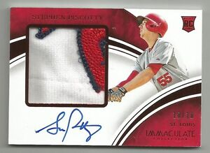 2016 STEPHEN PISCOTTY PANINI IMMACULATE RC JERSEY PRIME RED AUTO PATCH #/10