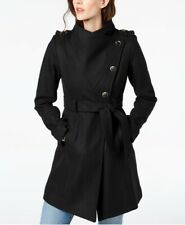 $75 GUESS Asymmetrical Belted Wool Wrap Coat XS Black. Retail Price Is $275