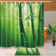 Watercolor bamboo Shower Curtain Bedroom Waterproof Fabric & 12Hooks 71*71inch