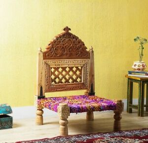 Pida chair handmade charpai chair with cotton Rope carving chair