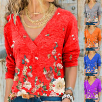 Women Long Sleeve T Shirt V Neck Casual Tops Basic Loose Blouse Floral Tunic