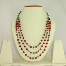 NATURAL RED SUNSTONE GEMSTONE BEADED NECKLACE 62 GRAMS