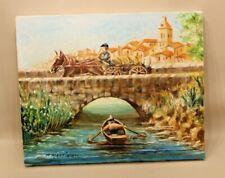 Peinture sur toile bateau, pont, charrue, villagee français - signé - 41 x 33 cm