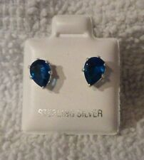 925 Sterling Silver 7mm x 5mm Pear Shaped Created Blue Topaz Stud Earrings