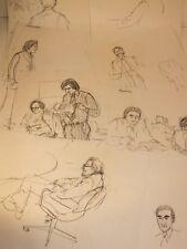Suite de 8 dessins portraits de personnalités - journalisme à voir