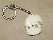 "Vintage 1.5"" Hand Carved Bovine Elephant Key Chain 4"" Keychain"
