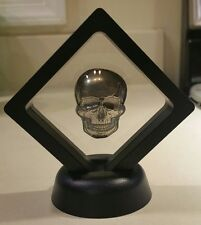 Framed 2 oz .999 Silver hand poured Skull art bar memento mori human skeleton