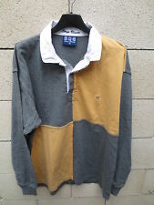 Polo SERGE BLANCO rugby damier gris jaune 15 Quinze shirt M manches longues