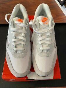 Nike Air Max 1 AT0043-001 Men's Pure Platinum White/Orange Size 10.5 NEW w/ BOX