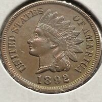 1892 Indian Head Cent 1c High Grade XF - AU and TONED #3770