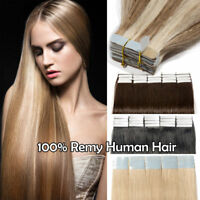 100% Remy Human Hair Extensions Tape Glue in Long 20-60PCS Skin Weft Highlight