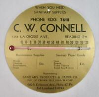 C W Connell Sanitary Supplies Reading PA Vintage Advertising Thermometer (O)