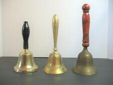 Lot of 3 Vintage School Desk Hand Held Bells