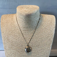 Vintage Sterling Silver 925 Circular Locket Necklace Pendant & Sterling Chain