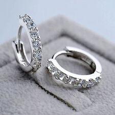 P Women Jewelry White Gemstones Crystal 925 Silver Plated Hoop Earrings Fashion