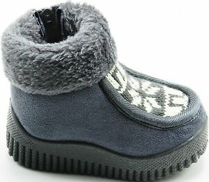 Toddler Boy Girls Infant Fur Ankle Non Slip Side Zipper Slip On Boots Shoes 1-6