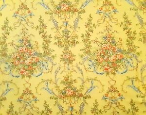 """Vintage Duralee """"Bower Musical"""" Rococco Floral Cotton Fabric- 1.25 Yards"""