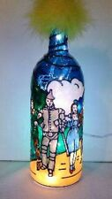 Wizard of oz Inspired Bottle Lamp Handpainted Stained Glass Look
