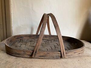 BEST Old Antique Handmade Handled Big Gathering Harvest Basket Patina AAFA