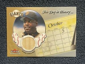 2002 Fleer This Day in History Barry Bonds GAME USED BAT RELIC!