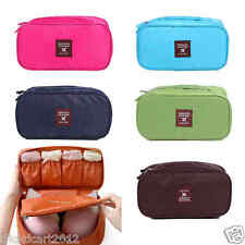 Travel Bra Underwear Lingerie Cosmetic Toiletry Pouch Bag Case Organizer-Brown
