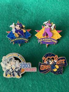 (4) Disney WDW Minnie & Mickey Graduation 2001 Pin Pins Four LE HTF