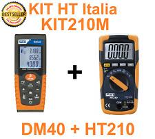 KIT MULTIMETRO DIGITALE MISURA TEMPERATURA + METRO LASER 40MT KIT210M HT Italia