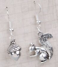 SQUIRREL & NUT SILVER PLATE  EARRINGS & GIFT BAG -  SAME DAY FREE  POSTAGE