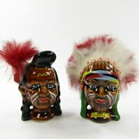 Vintage Native American Indian Salt Pepper Shakers Chief Brave Feathers Souvenir