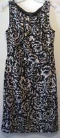 Ann Taylor Women's Dress Size S Black Beige Floral Lined Sleeveless Stretch