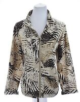 Zenergy Chicos Womens Lightweight Zip Up Jacket Gold Metallic Print Sz 2 Large