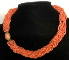 Natural Pink Coral Multi-Strand Beads Necklace 18 Inches,